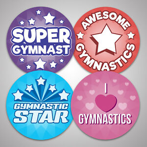 144 EXCELLENT GYMNASTICS Stickers, Well Done Reward Sport Dance Labels, 30mm dia