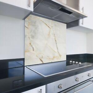Toughened Printed Kitchen Glass Splashback - Bespoke Sizes - Natural Marble 163
