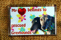 Greyhound Rescue Gift Dog Fridge Magnet 77x51 Birthday Gift, % to Charity