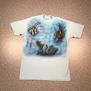 80s Vintage HAND PAINTED FISH T Shirt XL   Single Stitch Stedman