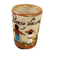 """Puerto Vallarta Mexico Clay Shot Glass 2.5"""" - pre-owned hand-painted EUC"""