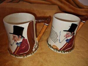 """2 Vintage """"John Peel"""" Crown Devon Fieldings ceramic musical tankards ~ 1 working"""
