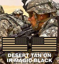 "NO LOGO SET USA FLAG PATCH TAN+MB solasX 3.5""X2"" WITH VELCRO® BRAND FASTENER"