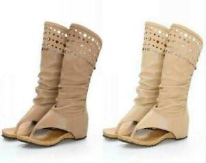 Gladiator Roman Womens Thongs Sandals Knee High Zipper Low Wedge Heel Boots 8