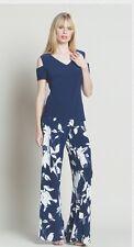 Clara Sun Woo Open Shoulder 1/2 Sleeve Hip Length V-Neck Top NWT---NAVY