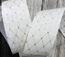 "5 Yds Kismet Wedding Ivory Silver Diamond Woven Acetate Ribbon 1 5/16""W"