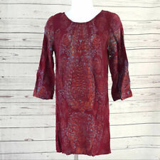 Billabong red Gypsy Daze paisley boho scoop back strap 3/4 sleeve shift dress Sm