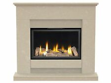 Fireplace Suite in Roman Stone with Large Glass Fronted Insert Gas Fire 39 Inch