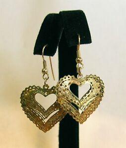 Vintage Goldtone Puffed Hearts Pierced Earrings