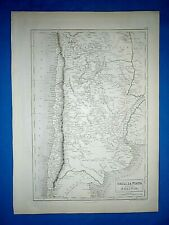 Antique 1847 Atlas Map ~ CHILI - LA PLATA ~ Engraved by S. HALL Old Authentic