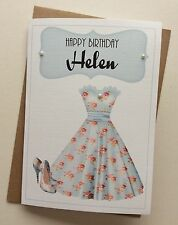 Handmade Personalised Vintage Dress Shoes Birthday Card: Sister Auntie Daughter