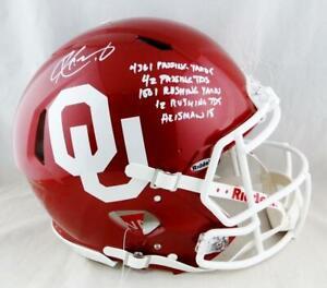 Kyler Murray Signed Oklahoma F/S Speed Authentic Helmet w/ 5 Stats- Beckett Auth