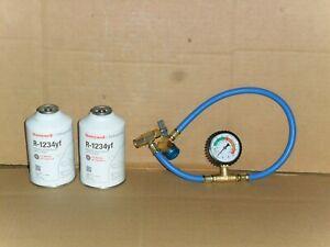R1234YF Refrigerant Honeywell, (2) 8 oz Can Solstice, & INSTALLATION GAUGE-NEW