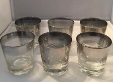 Silver Rimmed Glasses Set Of 6 Old Fashion Lowball