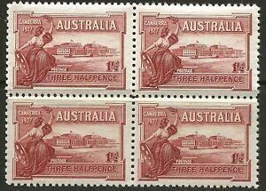 PRE-DECIMAL 1927 11/2d RED OPENING of PARLIAMENT BLOCK of 4, MUH (BP120)