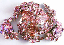 Signed SHERMAN Glittery PINK Rhinestones Pin/Brooch & Clip Earrings Set Free S/H