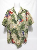 Vintage RJC Multicolor Tropical Parrots Palm Trees HAWAIIAN SHIRT Mens Size 2XL