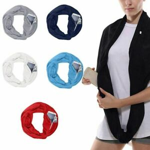 Men Women Convertible Infinity-Scarf With Zipper Pocket Loop Scarf Winter Warm