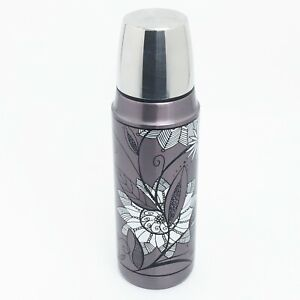 Thermos Stainless Steel 16 Ounce Insulated Bottle Rose Gold Black & White Floral