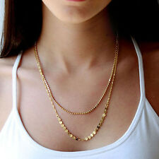 Vintage Womens Gold Plated Double Chain Sequins Beads Charm Pendant Necklace