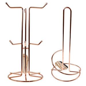 Copper Mug Tree 6 Cups Holder and Kitchen Paper Roll Towel Pole Rack Dispenser