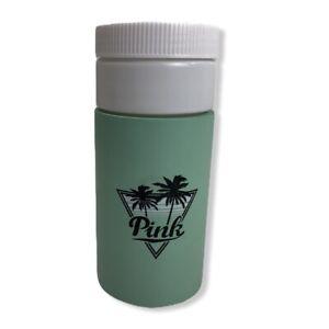 Victorias Secret Pink BEACH PLEASE Graphic Water Bottle Travel Cup w Koozie