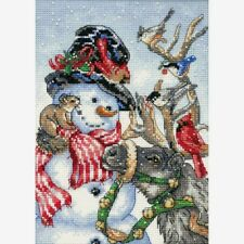 Dimensions Gold Collection Petite Counted Cross Stitch Kit Snowman&Reindeer 5X7