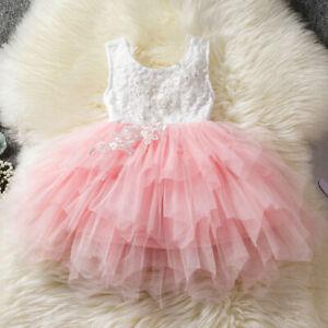 Kids Baby Girls Cute Dress Birhtday Lace Princess Party Tutu Wedding Gown