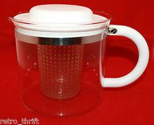 Vintage Bodum Large Glass Coffee Tea Pot White Plastic Handle  Denmark AS-IS