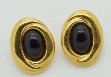 Vintage Monet Earrings Signed Clip On Gold Tone Large Chunky