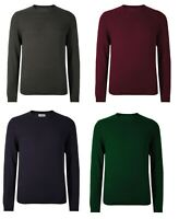 M&S Men Navy Green Round Neck Cotton Blend Jumpers Sweater Pullover TOP S M L XL