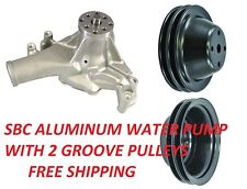 SB Chevy Water Pump LONG SBC 350 V8 High Volume BLACK Pulley Kit 2 Grooves NEW