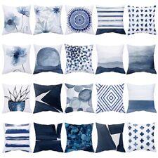 """18"""" Nordic Blue Geometric Throw Cushion Cover Sofa Waist Pillow Case Home Decor"""