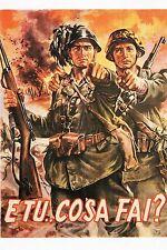 WW2 - Photo affiche italienne - Soldats allemand et italien