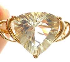 10K GOLD 3.89CT STAR BURST TRILLION-CUT TOPAZ RING SCROLL DESIGN SOLITAIRE RING