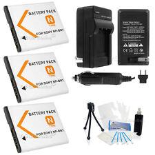 3X NP-BN1 Battery + Charger for Sony DSC-QX10 DSC-TF1/TX66/TX200/TX20/TX30/TX1