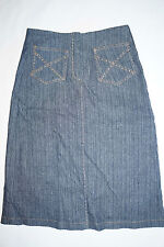 Sharagano Paris Womens Dark Wash Denim Skirt Jupe Dream Ring Rhinestones T. 38