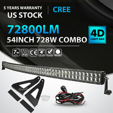 4D 54Inch 728W Curved LED Light Bar + Mount Bracket Fit Ford F-150 Pickup 4WD 52