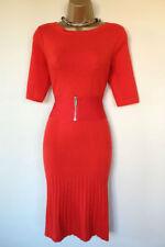 KAREN MILLEN ORANGEY RED WOOL KNIT SKATER DRESS SIZE 3 UK 12