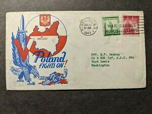 APO 96 FORT LEWIS, WASH 1943 WWII Army Cover POLAND PATRIOTIC Cachet