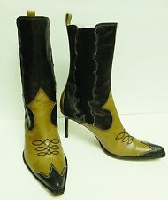 Christian Dior Soulier Boots Booties Shoes Leather Suede Western Hi Heel 38.5