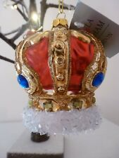 Gisela Graham Multi Colour Glass Royal Crown with Jewels and Glitter  8 x 7 cm