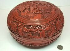 Vintage Chinese Carved Cinnabar Red Lacquer Large Sized Lidded Box w/ Figures