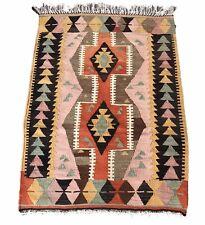 "Turkish Oriental Kilim Rug, Vintage Rug, Hand-knotted Pink Rug,  4'.1"" x 2'.9"""