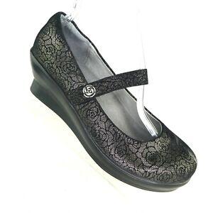 Alegria PG Lite Women's Shoes US 9 Flair Pewter Florette Black Silver Mary Jane