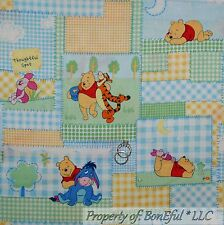 BonEful Fabric FQ Cotton Quilt Winnie the Pooh Baby Girl Boy Gingham S Patchwork