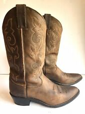 Justin 2253 Buck Bay Apache Cowboy Boots Brown Leather Western Mens Size 9 D