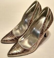 Charlotte Russe Womens Sz 6 Shoes Silver Metallic Croc Print Stiletto Heels