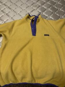VINTAGE Patagonia Mens Snap-T Fleece Pullover Jacket Size L Yellow
