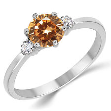 Cubic Zirconia Three Stone Engagement Ring 14K Solid White Gold Champagne Cz